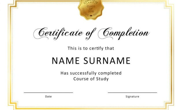 40 Fantastic Certificate Of Completion Templates [Word intended for Word Template Certificate Of Achievement