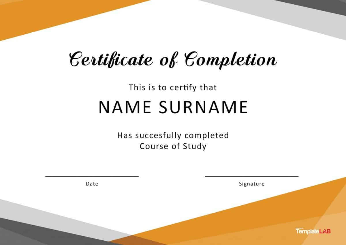 40 Fantastic Certificate Of Completion Templates [Word Regarding Certificate Of Completion Free Template Word