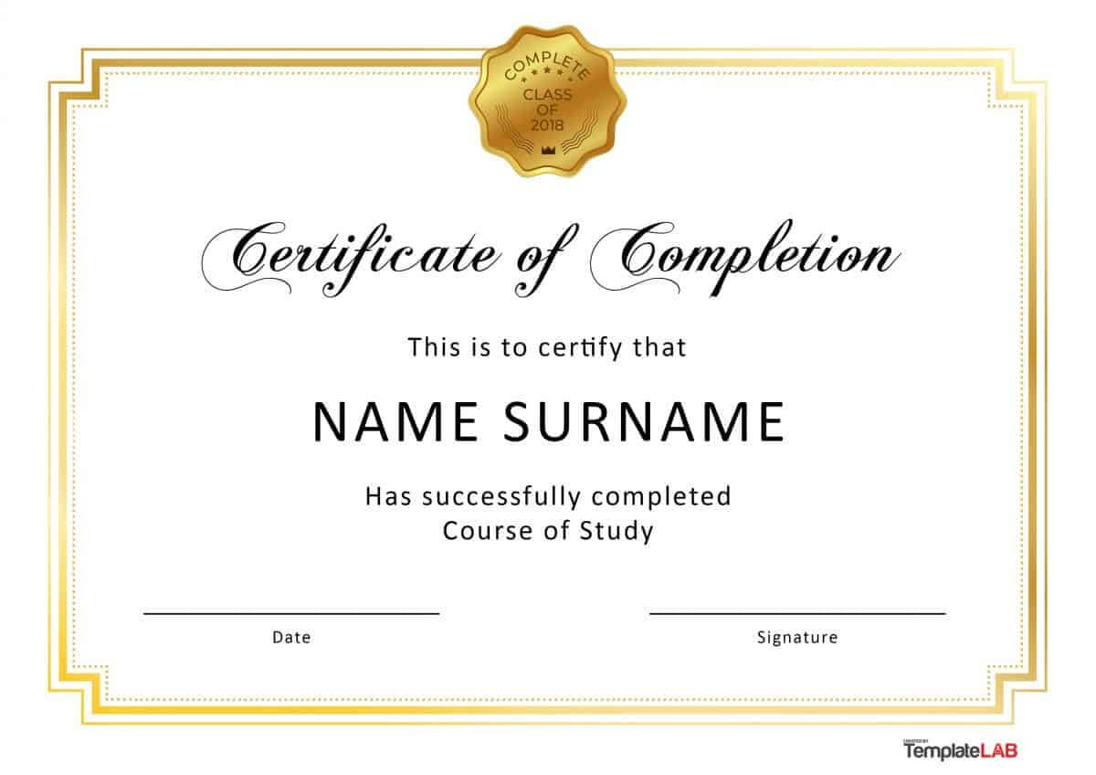 40 Fantastic Certificate Of Completion Templates [Word Throughout Certificate Of Completion Word Template