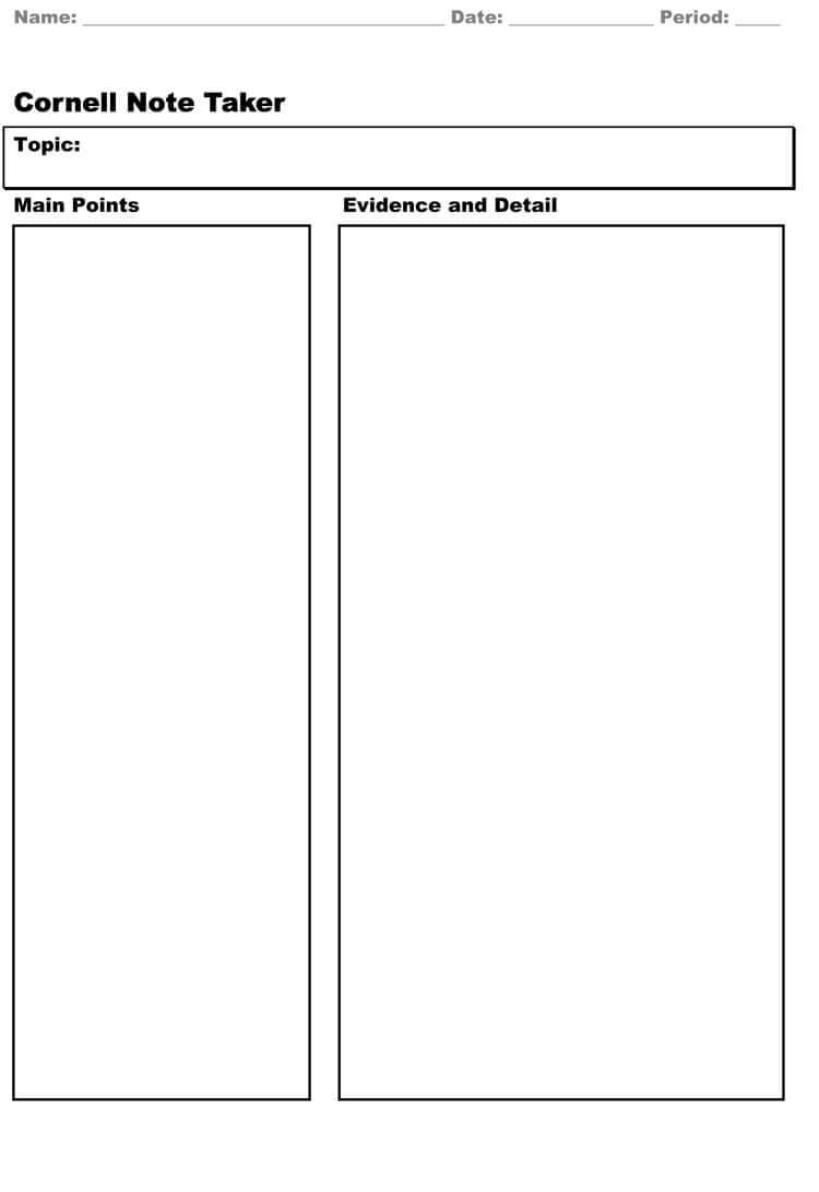 40 Free Cornell Note Templates (With Cornell Note Taking With Cornell Note Template Word
