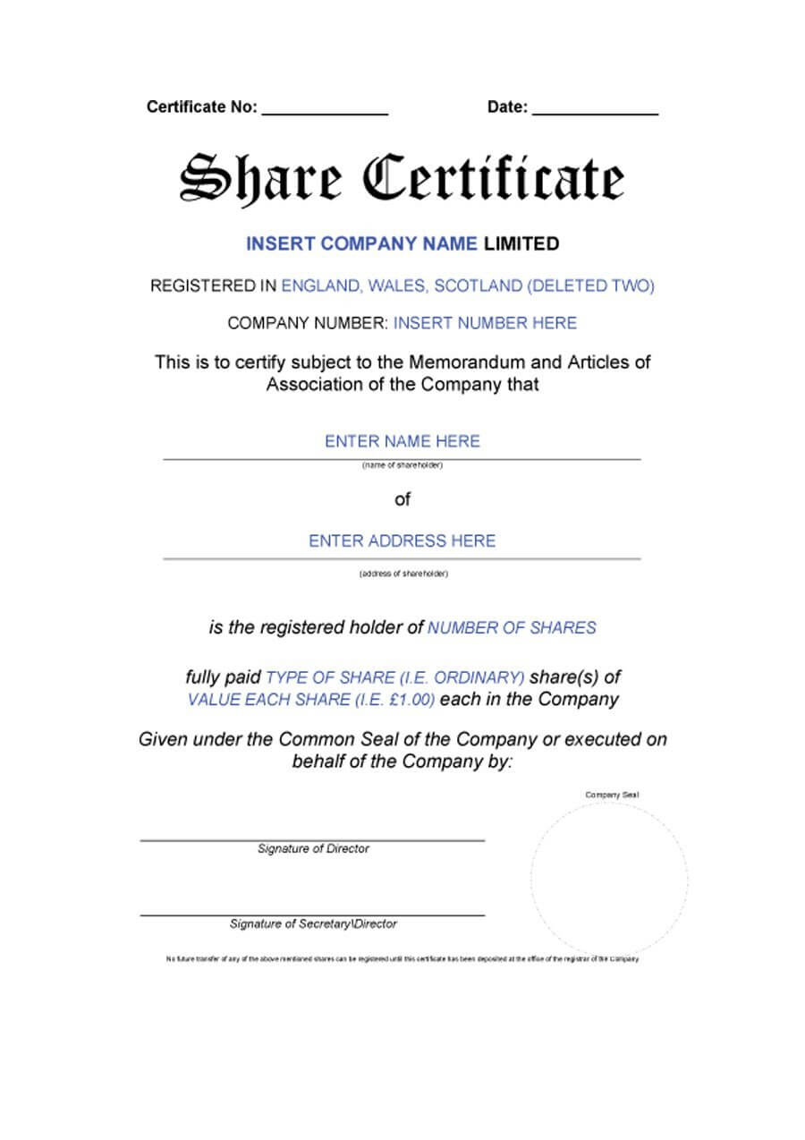 40+ Free Stock Certificate Templates (Word, Pdf) ᐅ Template Lab For Share Certificate Template Pdf