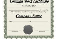 40+ Free Stock Certificate Templates (Word, Pdf) ᐅ Template Lab within Share Certificate Template Pdf
