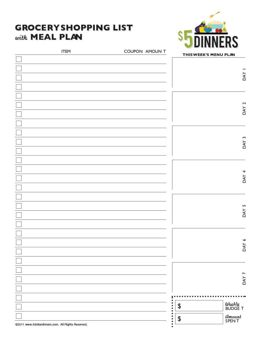 40+ Printable Grocery List Templates (Shopping List) ᐅ For Blank Grocery Shopping List Template
