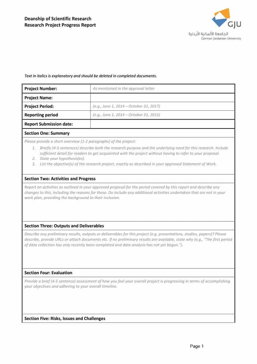 40+ Project Status Report Templates [Word, Excel, Ppt] ᐅ In Research Project Report Template