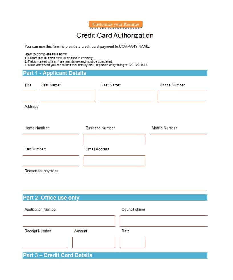 41 Credit Card Authorization Forms Templates {Ready To Use} Inside Credit Card On File Form Templates