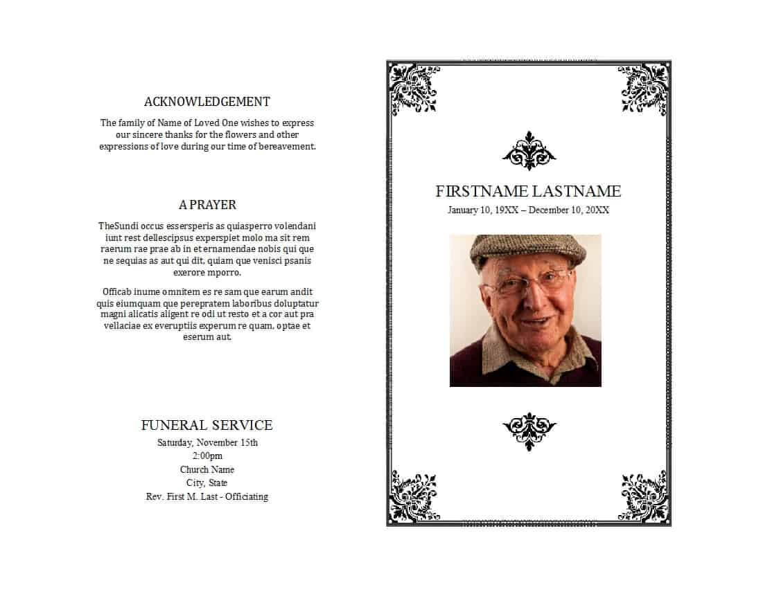 47 Free Funeral Program Templates (In Word Format) ᐅ Inside Memorial Brochure Template