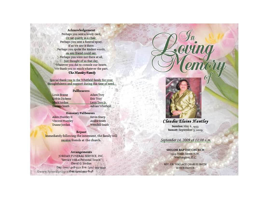 47 Free Funeral Program Templates (In Word Format) ᐅ With Memorial Brochure Template
