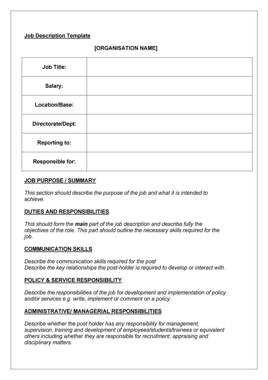 47 Job Description Templates & Examples ᐅ Template Lab Throughout Job Descriptions Template Word