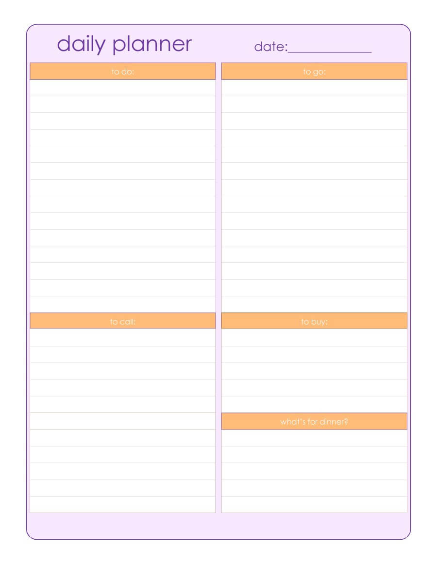 47 Printable Daily Planner Templates (Free In Word/excel/pdf) Within Printable Blank Daily Schedule Template