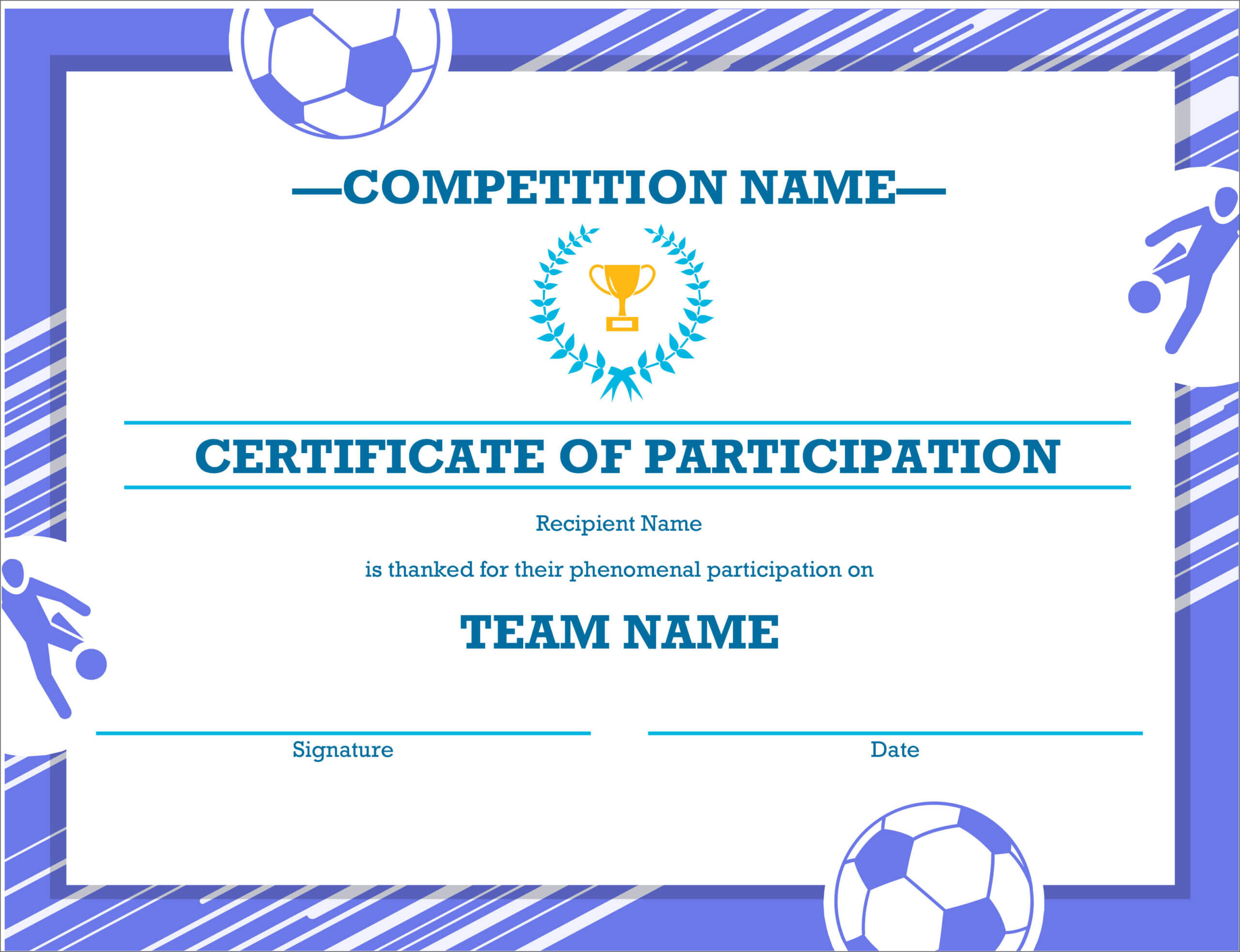 50 Free Creative Blank Certificate Templates In Psd Throughout Sample Certificate Of Participation Template