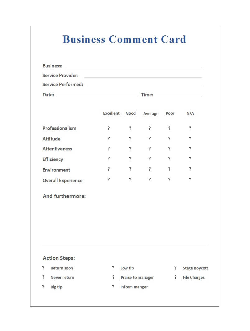 50 Printable Comment Card & Feedback Form Templates ᐅ With Regard To Comment Cards Template