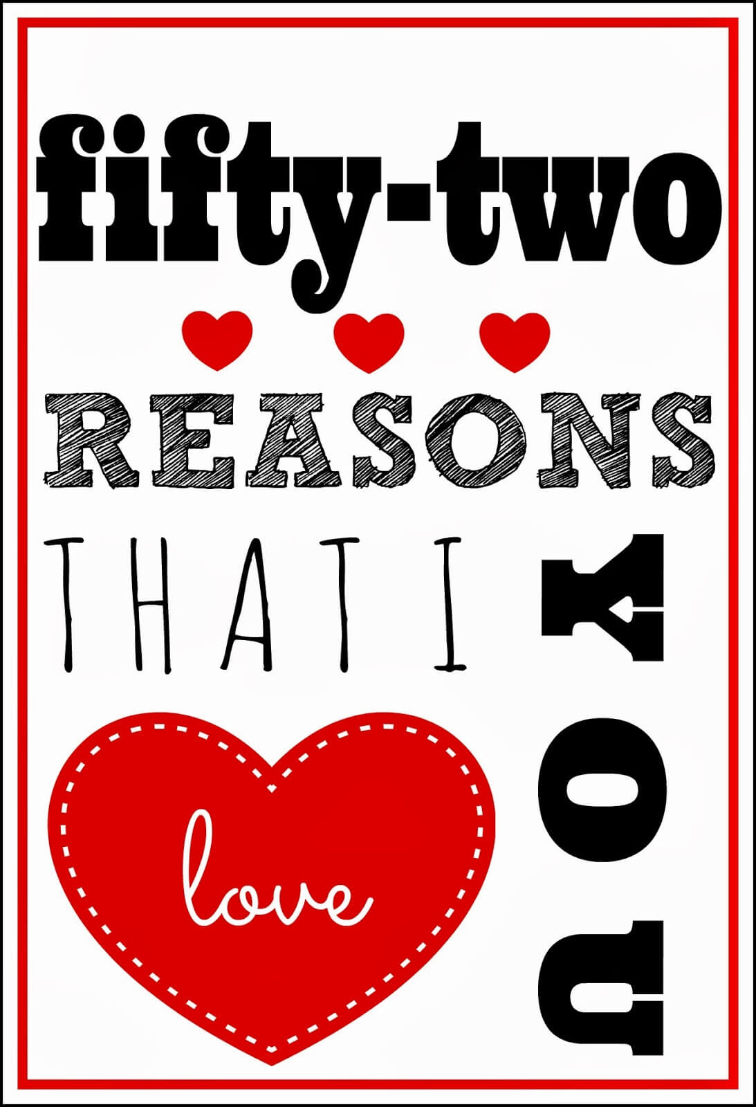 52 Reasons I Love You Template Free ] - You Will Get A With 52 Reasons Why I Love You Cards Templates Free