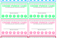 550Westmount: Chore Chart And Chore Punch Card For Kids In Reward Punch Card Template