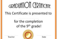 5Th Grade Graduation Certificate Template ] – Diplomas Free Regarding 5Th Grade Graduation Certificate Template