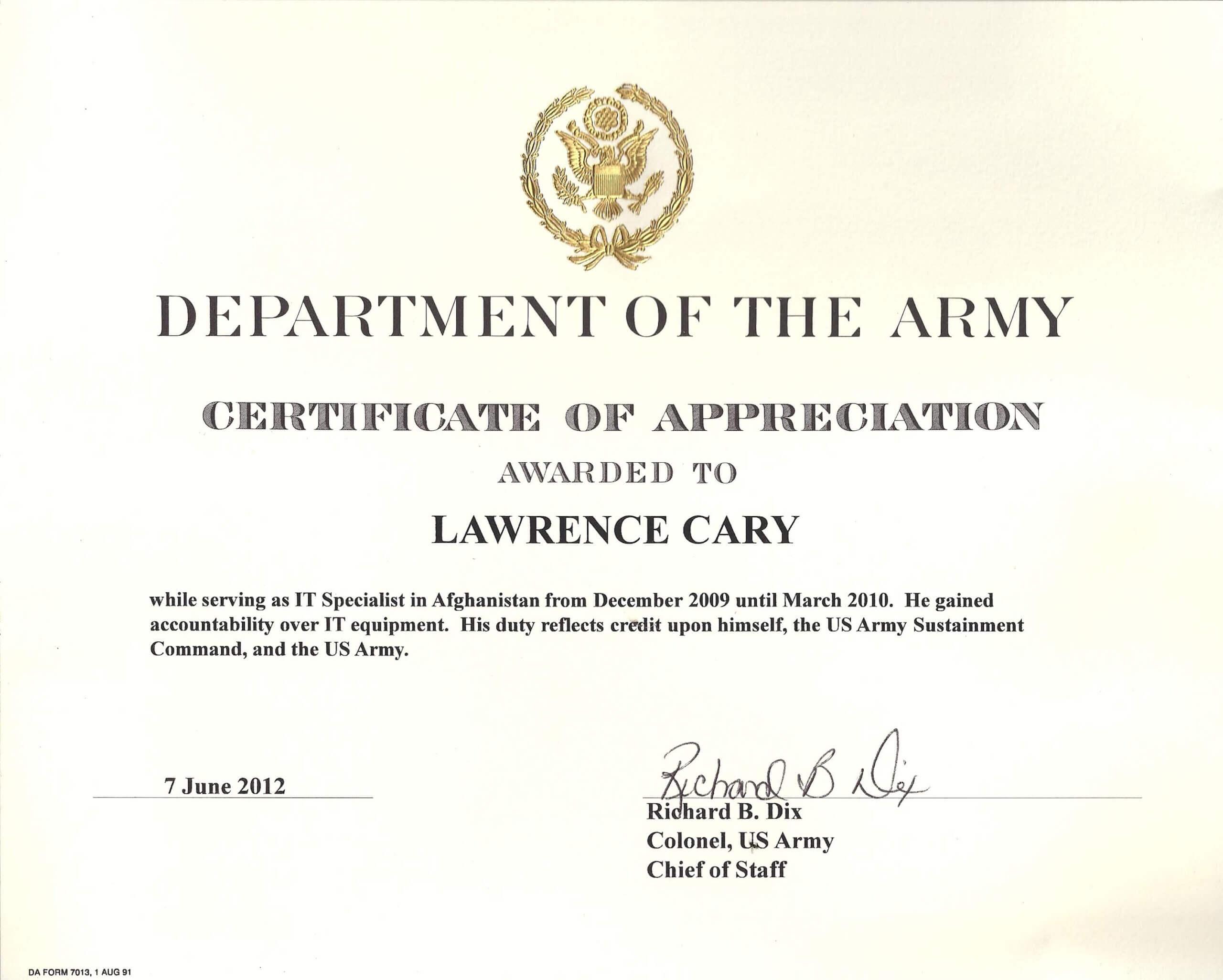 6+ Army Appreciation Certificate Templates - Pdf, Docx Regarding Army Certificate Of Appreciation Template