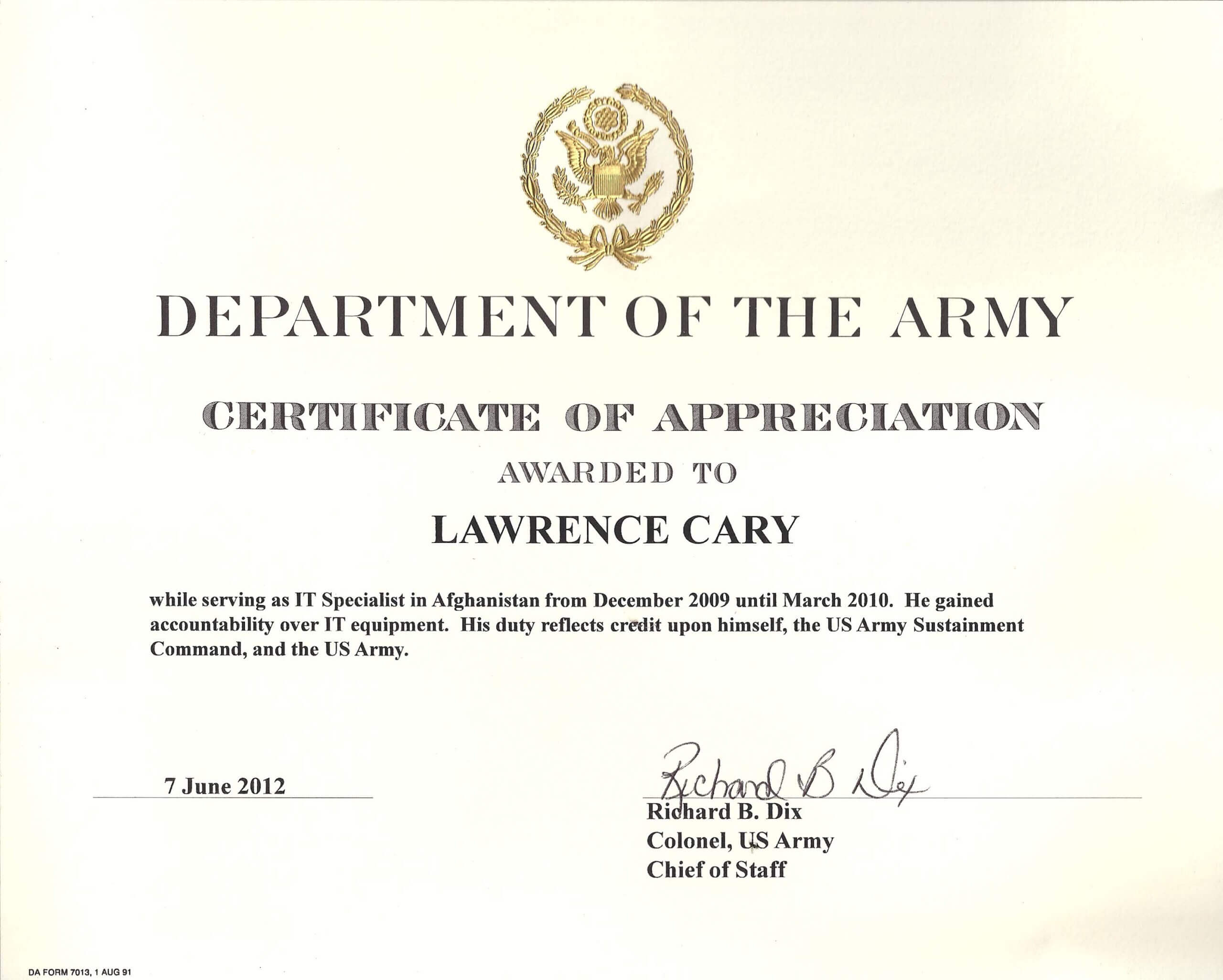 6+ Army Appreciation Certificate Templates - Pdf, Docx With Army Certificate Of Completion Template
