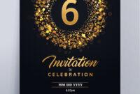 6 Years Anniversary Invitation Card Template throughout Template For Anniversary Card