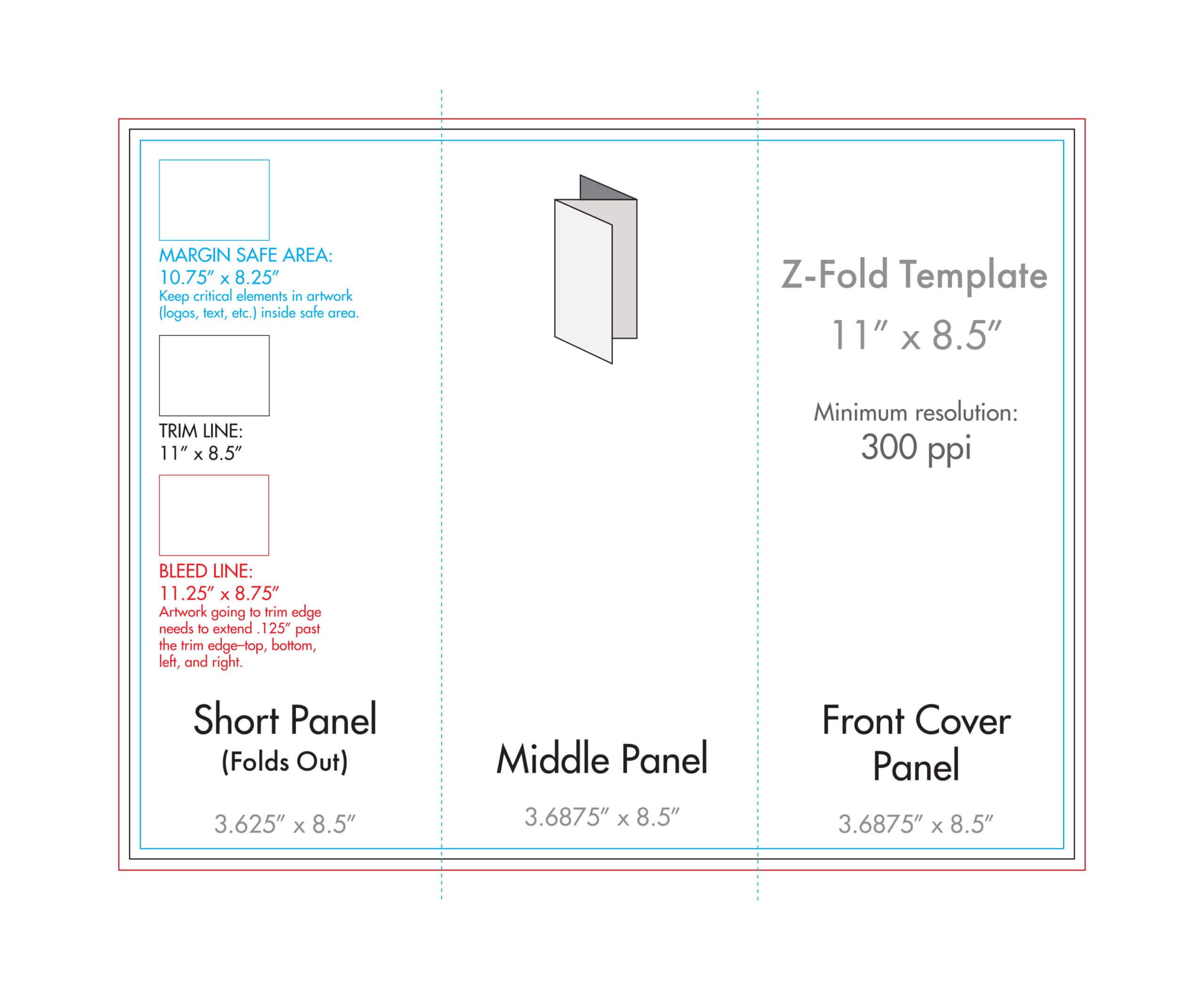 "8.5"" X 11"" Z Fold Brochure Template - U.s. Press In 8.5 X11 Brochure Template"