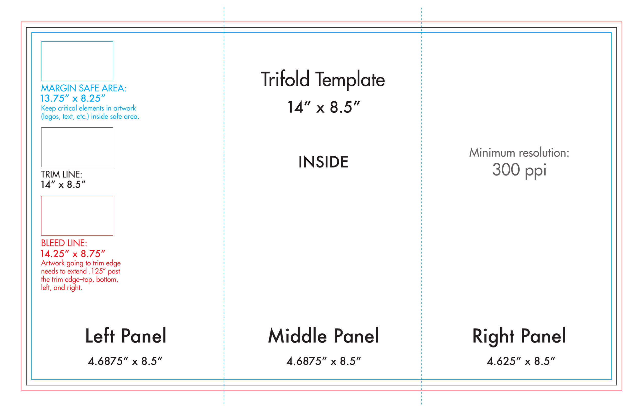 "8.5"" X 14"" Tri Fold Brochure Template - U.s. Press Intended For Brochure Folding Templates"