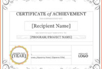 8+ Certificate Of Achievement Template Word | Survey for Word Certificate Of Achievement Template