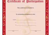 8+ Free Choir Certificate Of Participation Templates – Pdf within Choir Certificate Template