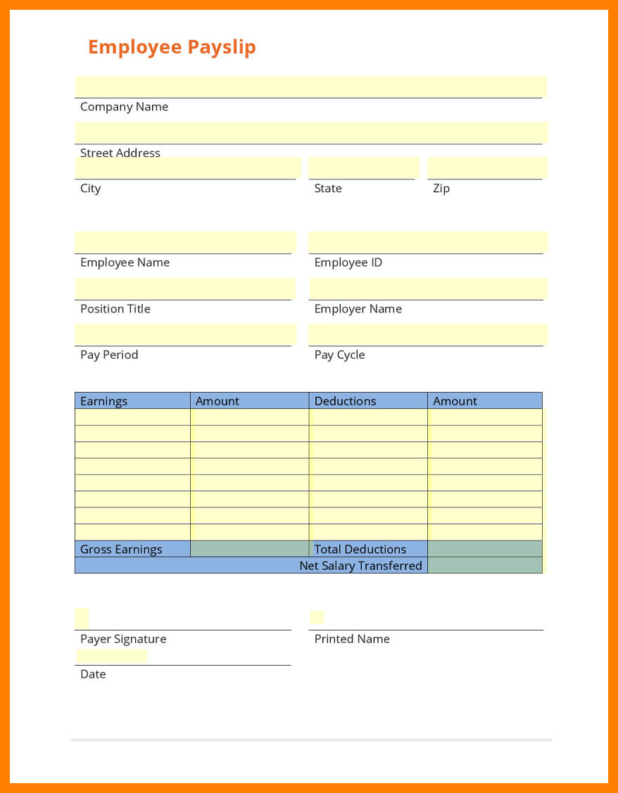 8+ Free Payslip Template Download | Shrewd Investment Inside Blank Payslip Template