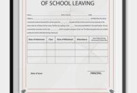 83+ Creative Custom Certificate Design Templates   School For School Leaving Certificate Template