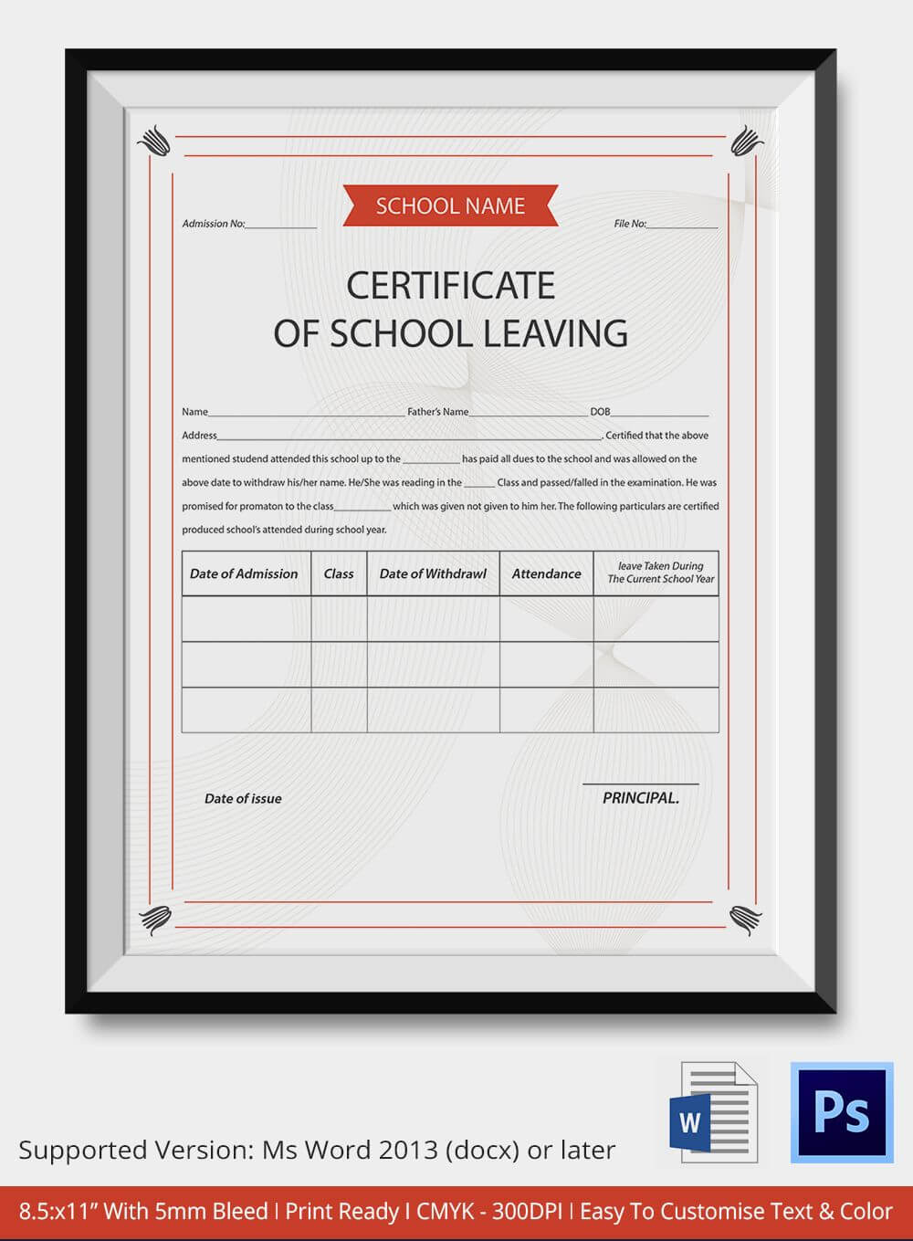 83+ Creative Custom Certificate Design Templates | School Inside Leaving Certificate Template