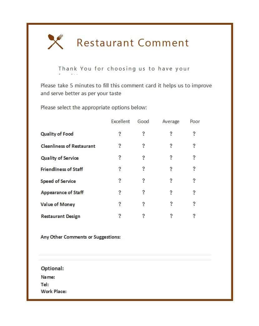 9 Restaurant Comment Card Templates - Free Sample Templates Pertaining To Restaurant Comment Card Template