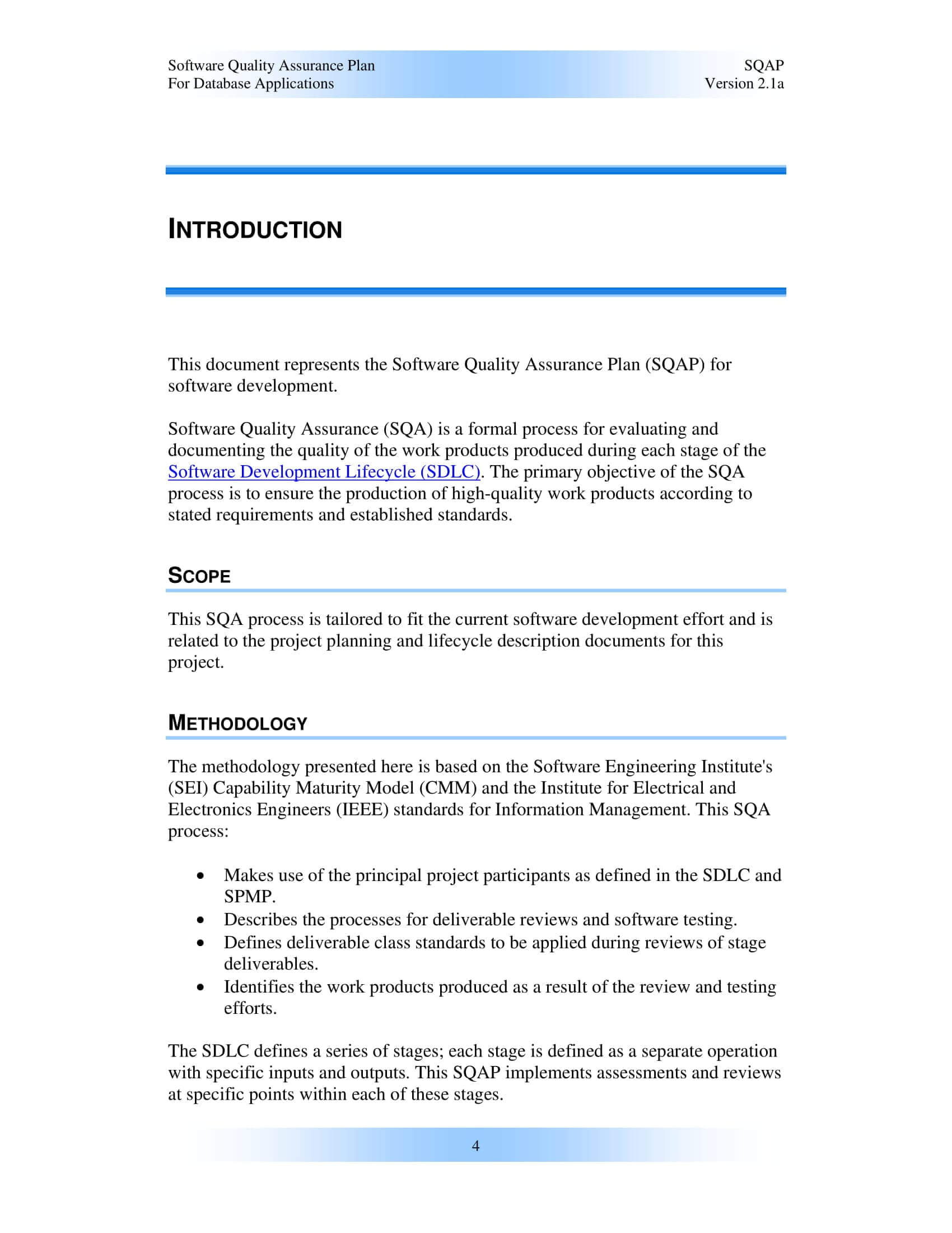9+ Software Quality Assurance Plan Examples - Pdf | Examples For Software Quality Assurance Report Template