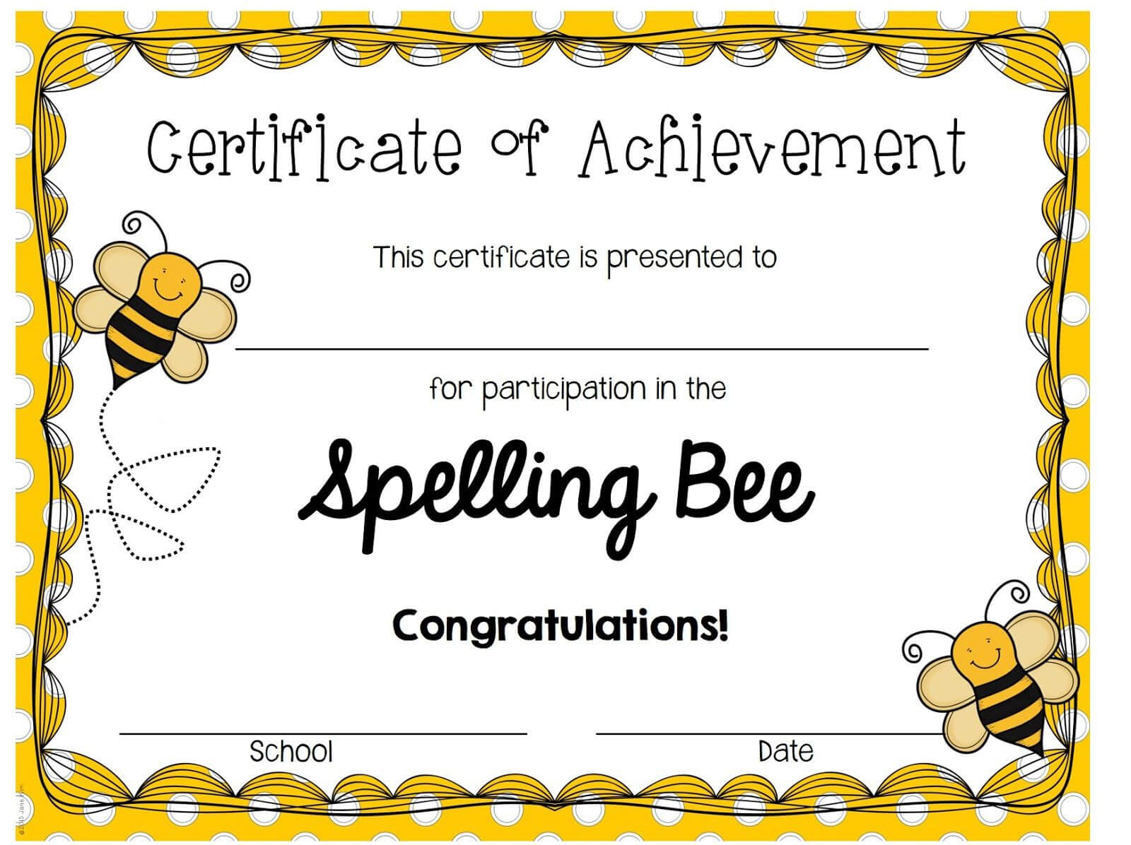 A Blog About Education, Children, Teaching, And My Journey Throughout Spelling Bee Award Certificate Template