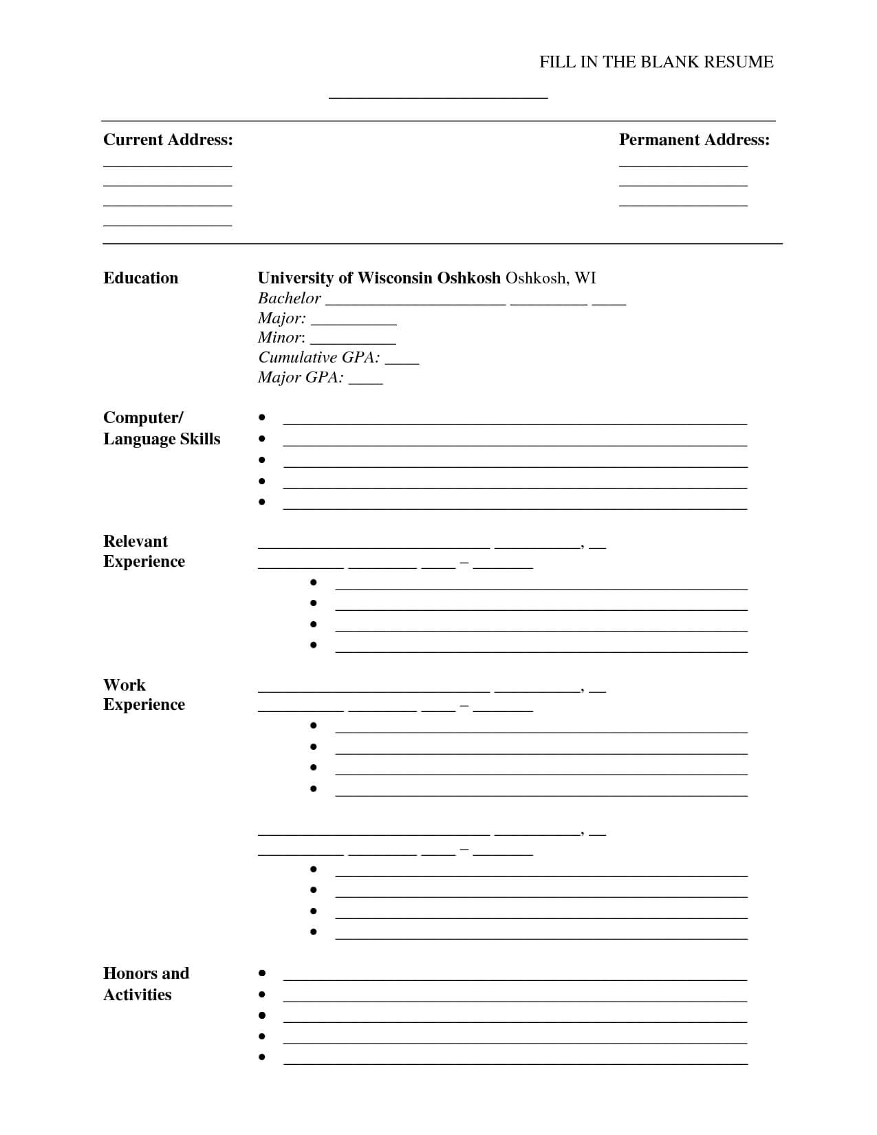 A Cv Template To Fill In | Free Printable Resume, Free For Free Bio Template Fill In Blank