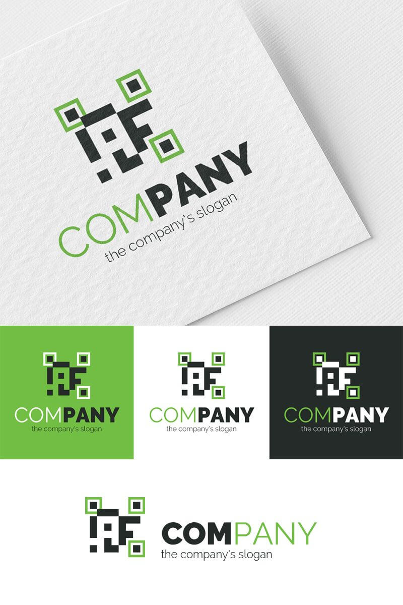 A + F + Qr Code Logo Template #81048 | Coding Logo, Logo Within Qr Code Business Card Template