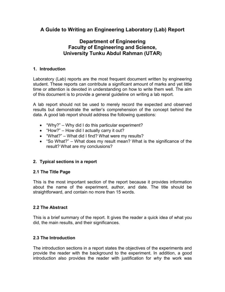 A Guide To Writing An Engineering Laboratory (Lab) Report With Engineering Lab Report Template