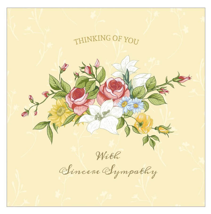 A Sympathy Card With A Bouquet Of Flowers On It. | Free Throughout Sympathy Card Template
