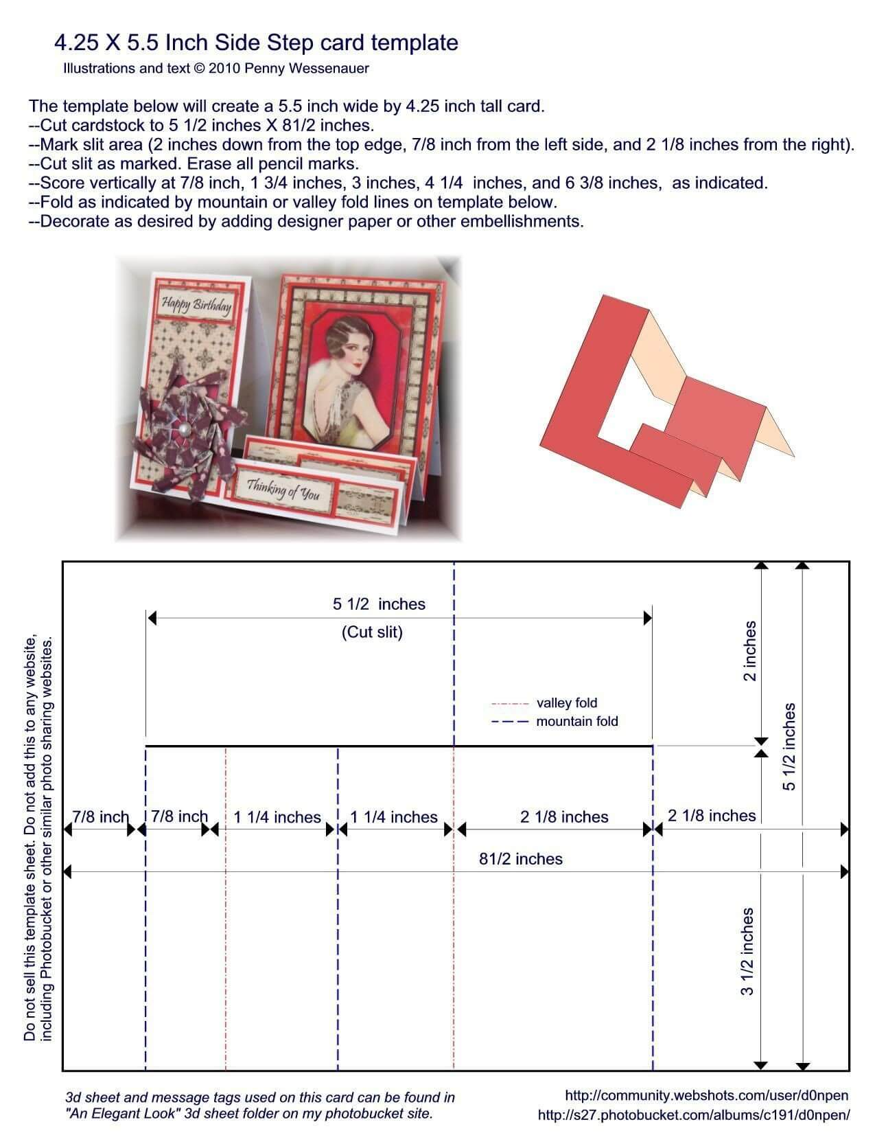 A2 (4.25 X 5.5) Side Step Card Template | Step Cards, Side With Regard To A2 Card Template