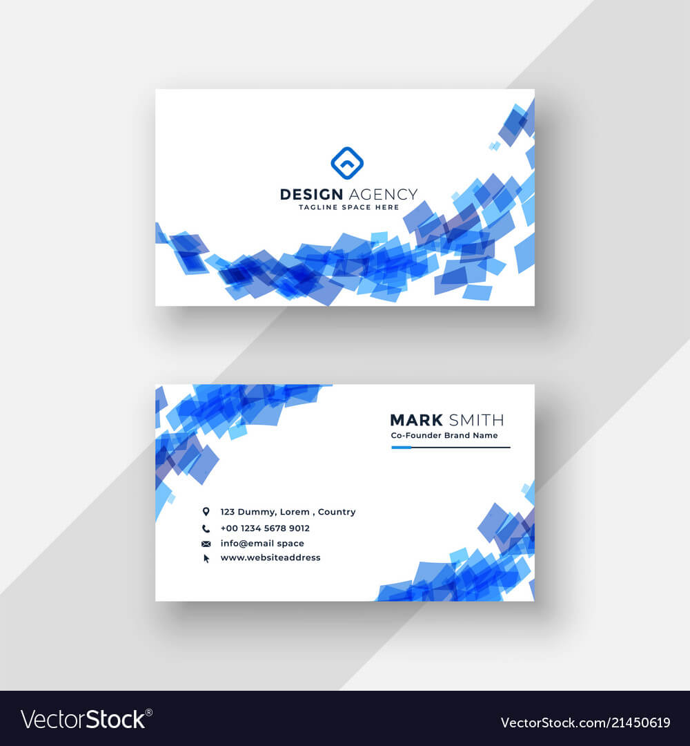 Abstract Blue Creative Business Card Template With Regard To Advertising Card Template