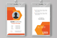 Abstract Orange Id Card Design Template with Company Id Card Design Template
