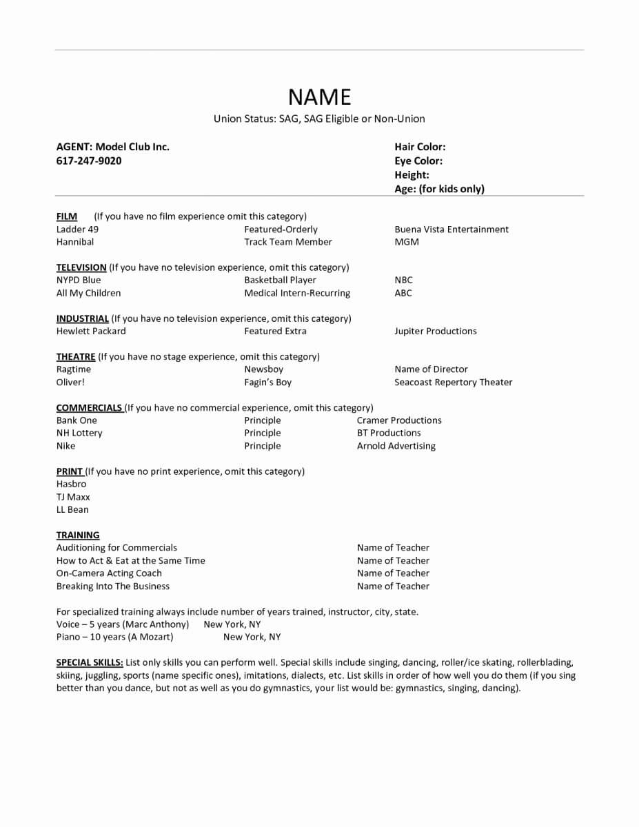 Acting Resume Template For Microsoft Word Fresh Free 18 With Theatrical Resume Template Word
