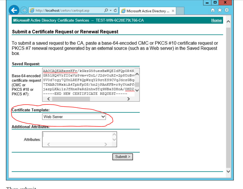 Ad Certificate Services - The Combobox To Select Template Is In Domain Controller Certificate Template