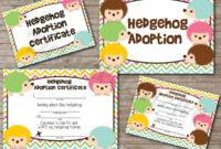 Adopt-A-Hedgehog Hedgie Adoption Certificate And Sign Set inside Toy Adoption Certificate Template
