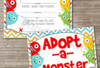 Adopt-A-Monster Certificate And Sign Set | Dandelion Avenue intended for Toy Adoption Certificate Template