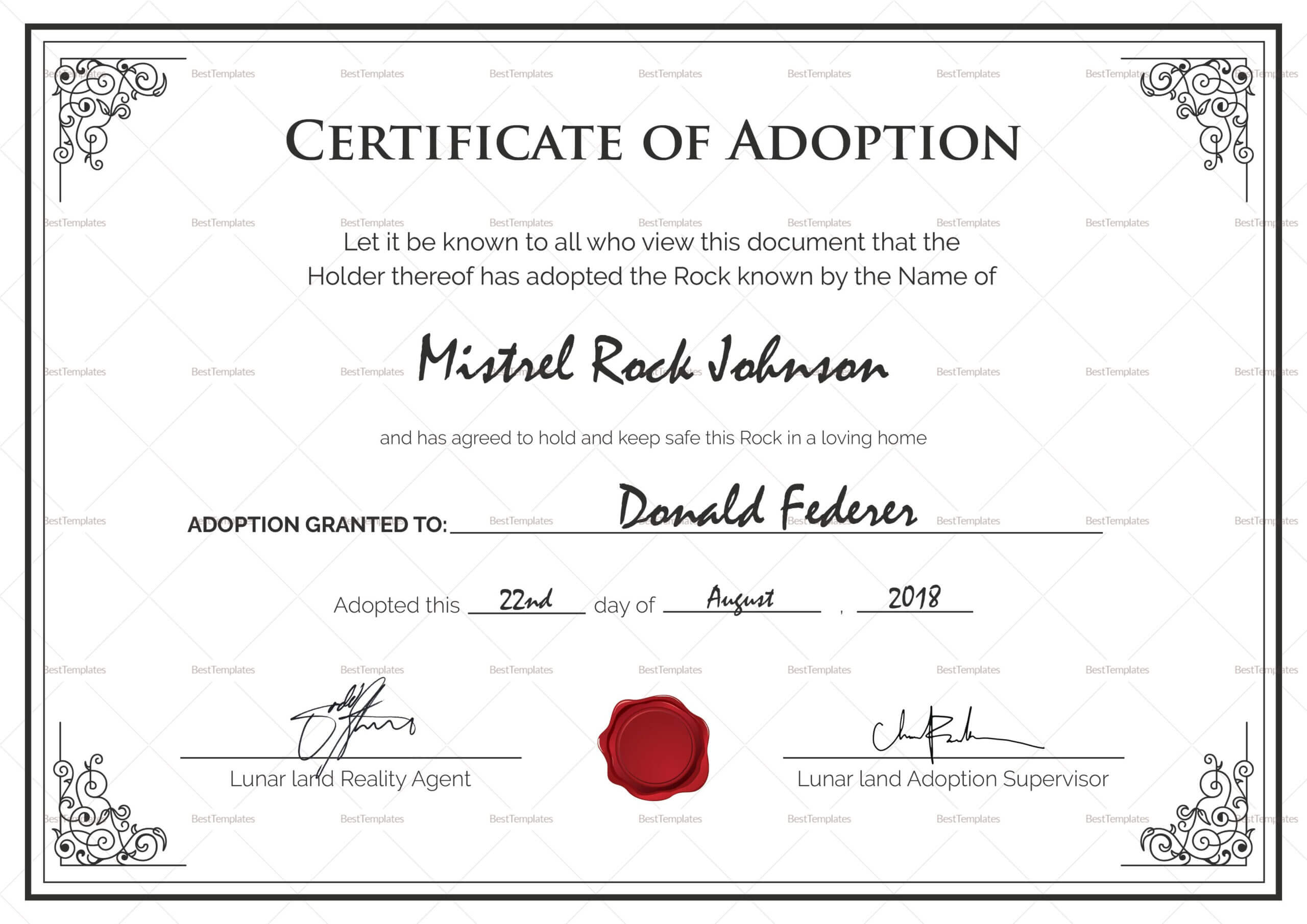 Adoption Birth Certificate Template | Certificate Templates Regarding Pet Adoption Certificate Template