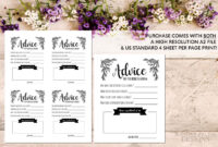 Advice Card Template. Advice For The Newlyweds. Marriage in Marriage Advice Cards Templates