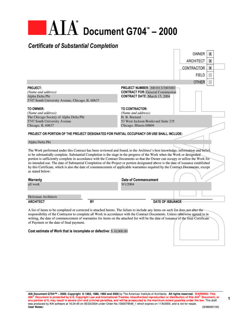 Aia G704 - Fill Online, Printable, Fillable, Blank | Pdffiller In Certificate Of Substantial Completion Template