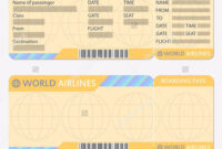 Airline Or Plane Ticket Template Boarding Pass Blank And throughout Plane Ticket Template Word