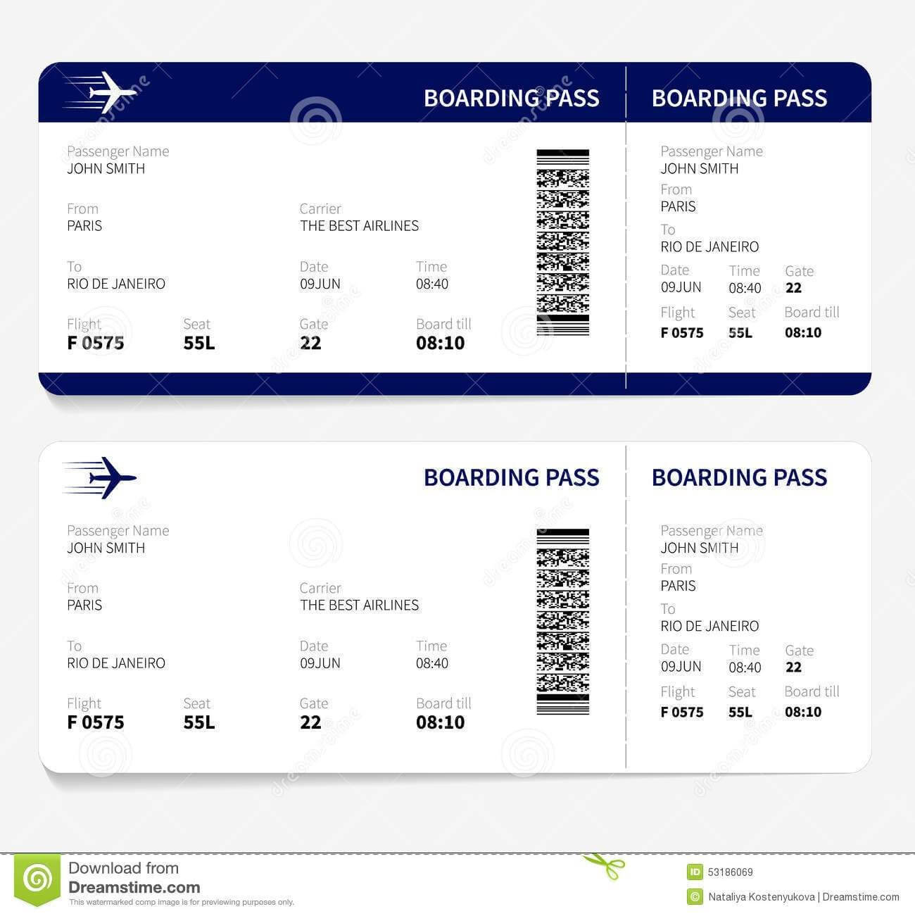 Airline Ticket Template Free Sample Customer Service Resume In Plane Ticket Template Word