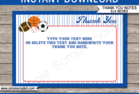 All Star Sports Party Thank You Cards Template within Soccer Thank You Card Template