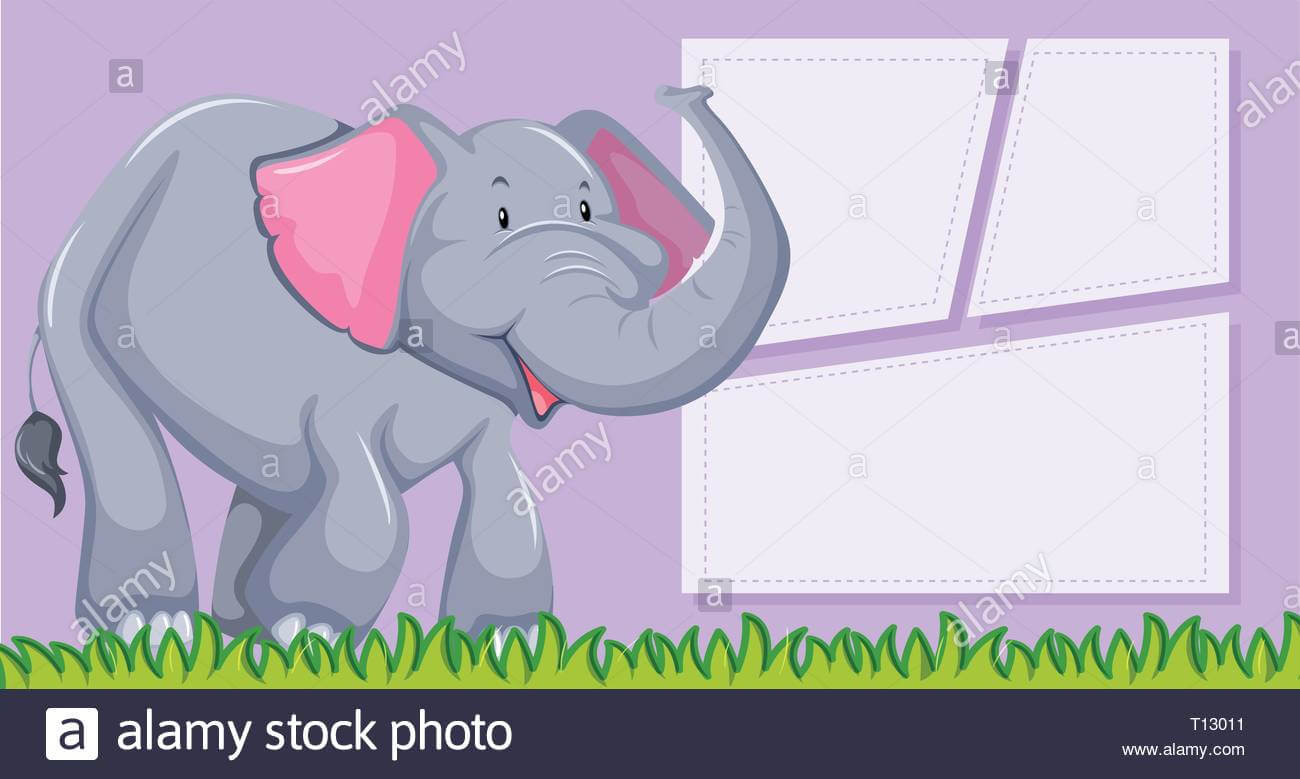 An Elephant On Blank Template Illustration Stock Vector Art Regarding Blank Elephant Template