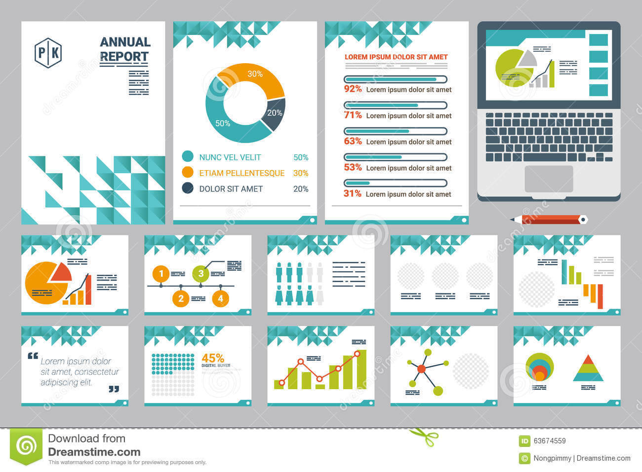 Annual Report Cover A4 Sheet And Presentation Template Stock Throughout Illustrator Report Templates